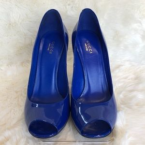 Gucci Heels Blue Patent Leather